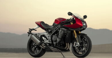 speed triple 1200 rr red at dusk