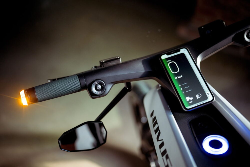 novus electric bike carbon fiber panel