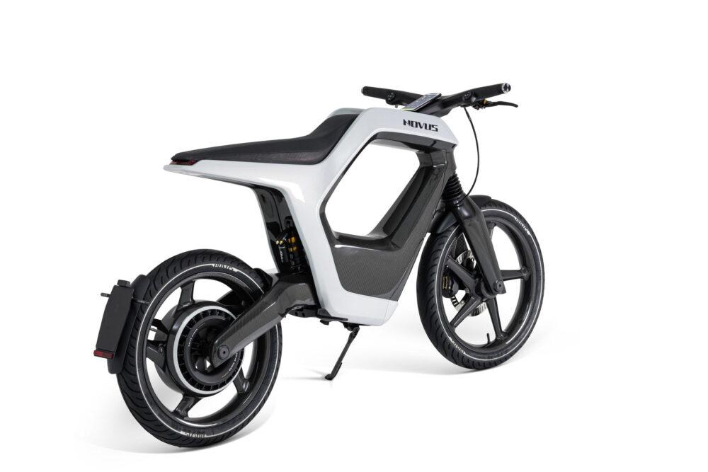novus electric bike carbon fiber white rear